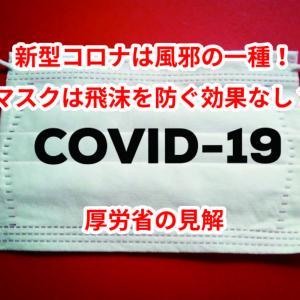 新型コロナは風邪の一種!マスクは飛沫を防ぐ効果なし?厚労省の見解
