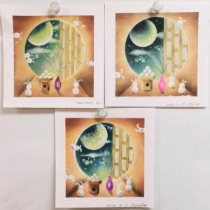 リクエスト講座:IKUKOさんアート「お月見」描きました♪