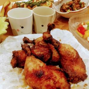 🐭骨付き鶏もも肉のジューシー唐揚げの簡単作り方・レシピ🐭
