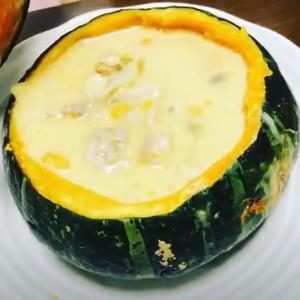 【ごちそうレシピ】【洋食】丸ごとかぼちゃのシチュー【牛乳大量消費】【美肌】