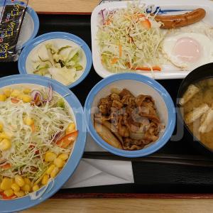 ソーセージエッグ定食(選べる小鉢付プレミアムミニ牛皿)@松屋