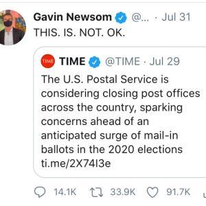カリフォルニア州知事にとっても郵便投票は命綱
