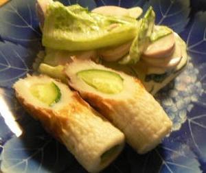 魚肉サラダとキュウリと竹輪