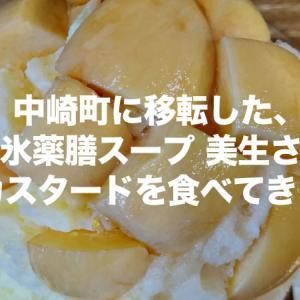 中崎町に移転した、かき氷薬膳スープ美生(みしょう)さんに生桃カスタードを食べてきました