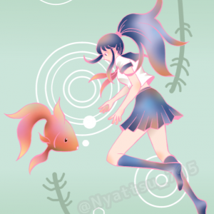 78.イラスト「金魚と少女」