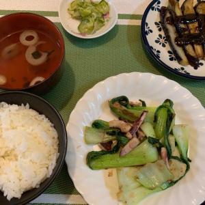 7月30日の晩ごはん – イカと青梗菜の炒めもの