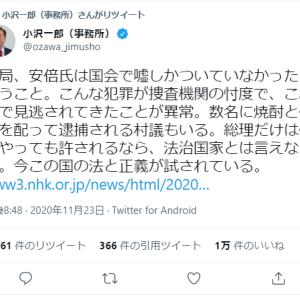 小沢 一郎「巨額の有権者買収。公私混同、権力の私物化が専門の人物が8年間も総理をやったからこそ、今日の行政の崩壊がある。 このままでは間違いなく この国はおかしくなる」