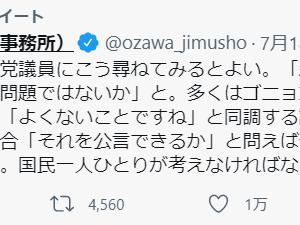 小沢 一郎「虚偽、隠蔽、改ざんばかりの自民党。安倍・菅政権は9年かけて立憲民主主義を破壊。政権を代えないと日本は腐敗の海に沈没する。この国は今、岐路にある。選ぶのは国民」