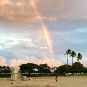 夕焼け空に虹…うれしい時間
