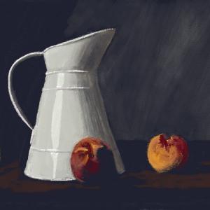 【絵心教室】桃と水差し