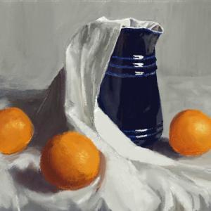 【絵心教室】オレンジ、水差し、布