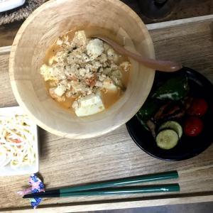 鶏ムネミンチで麻婆豆腐  アイスジンは爽やかー(*´∀`*)