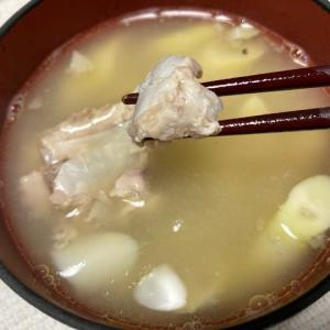 【遅れてきた半夏生メニュー】鯖缶と根曲がり竹(姫竹)の味噌汁