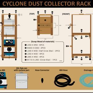サイクロン集塵機が移動できるラックを作る