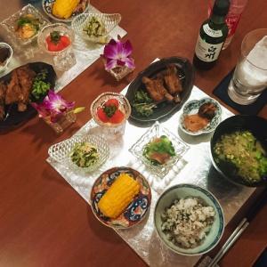 スペアリブのマーマレード煮と夏向きな大葉と茗荷と白ごまの混ぜご飯