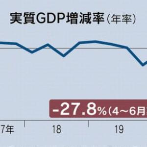【GDPの勉強】4~6月期GDP、年率27.8%減 過去最大の落ち込みは当たり前