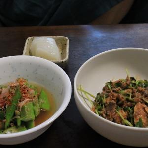【今日のおつまみ】オクラの冷やし出汁漬け/サバ缶と豆苗の和え物