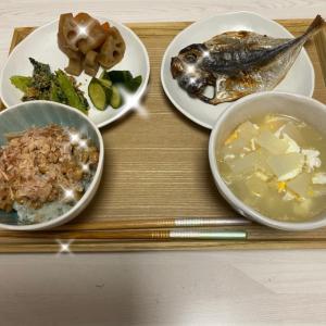 アジと副菜3種and大根スープ