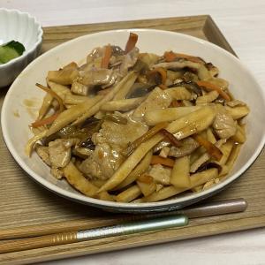 ナスと豚肉、筍の中華炒め