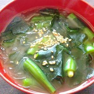 いんげんとわかめの春雨スープ