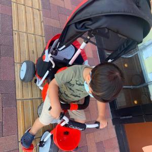 2歳8ヶ月で三輪車をGET