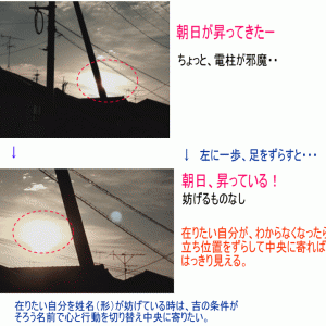 東の天道日盤吉方 中央に立ち位置を戻すと太陽が見えた。