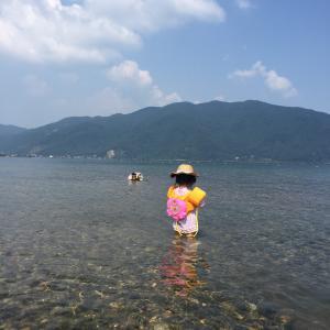 当日OKの知内浜オートキャンプ場 日帰りでびわ湖へ泳ぎに行く。