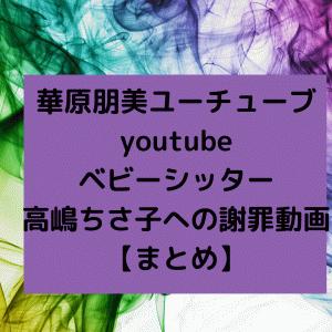 華原朋美ユーチューブyoutubeベビーシッター高嶋ちさ子への謝罪動画【まとめ】
