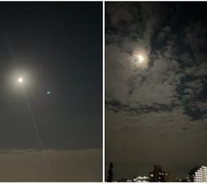 9-22_21日のお月様 と 入り前の朝の月