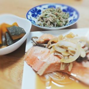 全部レンチン調理で手間かけた風夕食完成!鮭のちゃんちゃん焼き