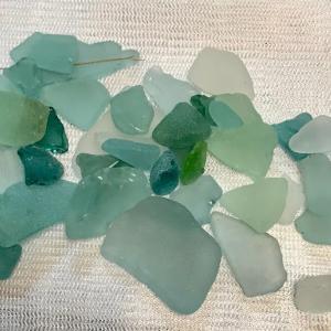 伊豆の海岸でシーグラスを拾いました  I collected seaglasses at Izu beach.