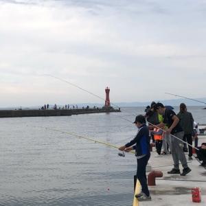 深日港で魚釣り