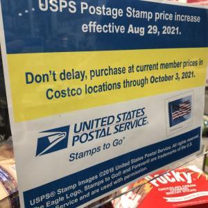 値上がりするforever stamp切手 10/3までCostcoでお値段据え置き