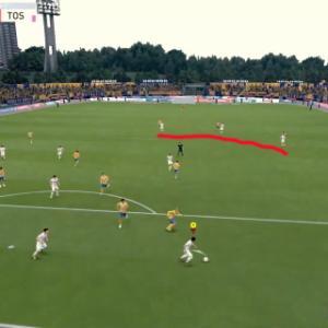 FIFA 20:自陣奥でボールを奪った直後に、味方AIがボールを受けに来ず上がる