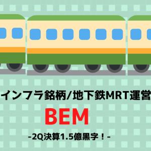 ■交通インフラ銘柄/地下鉄MRT運営BEM2Q決算1.5億黒字!タイ株