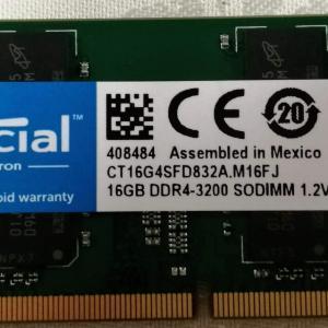 Crucial 16GB DDR 3200MHz SODIMM CT16G4SFD832A