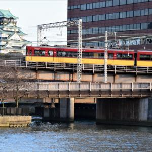 京阪電車天満橋の夕景(2016年3月)