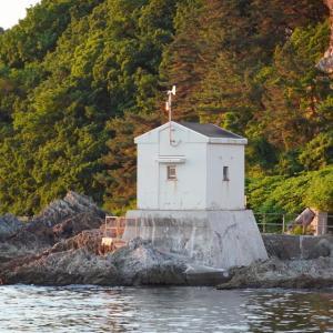 青森県浅虫温泉の夕景と海辺の景色