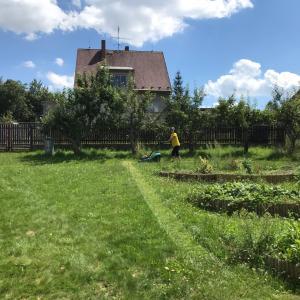 庭で草刈り中、ハッチャケて遊ぶママ
