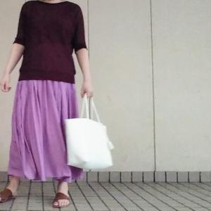 ブラウン×パープルコーデ/楽天スーパーセールで買ったスカート履きました