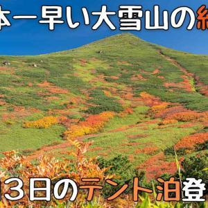 松仙園コースから秋の表大雪に紅葉を見にテント泊登山!2泊3日の絶景歩き!