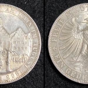 ドイツ フランクフルト 1863年 TALER レーマー広場(市庁舎)②