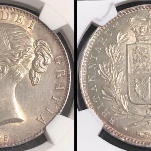イギリス 1845年 クラウン銀貨 ヴィクトリア ヤングヘッド
