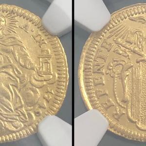 イタリア ローマ教皇領 1749年 1/2ゼッキーノ金貨