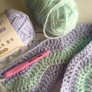 2色糸のリップル編み その1