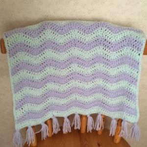 2色糸のリップル編み その2 ひざ掛け完成