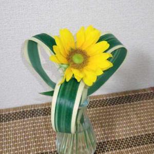 【ヒマワリ一輪】花びらが枯れても最後まで楽しむ一輪挿し~ノシメランを添えて…