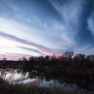 竜巻雲の夕焼け