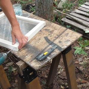 一畳半物置小屋#24  窓製作、施工