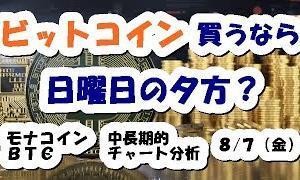 仮想通貨 ビットコイン買うなら日曜の夕方?【8月7日】モナコイン・BTC中長期的チャート分析